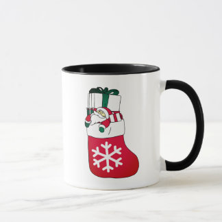 Cute Happy Little Santa Claus in the Sock Mug