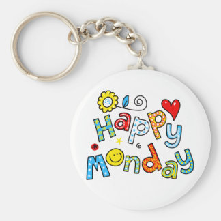 Cute Happy Monday Week Greeting Text Expression Basic Round Button Key Ring