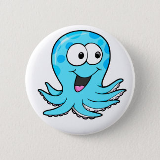 Cute Happy Octopus Button