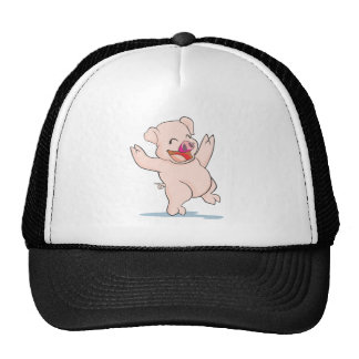 Cute Happy Pig Arms Hands Waving Up HIgh Cap