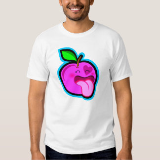 Cute happy pink apple cartoon in dark shirt