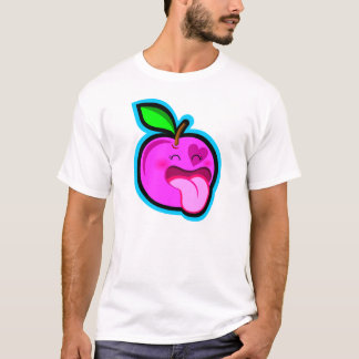 Cute happy pink apple cartoon in dark shirt