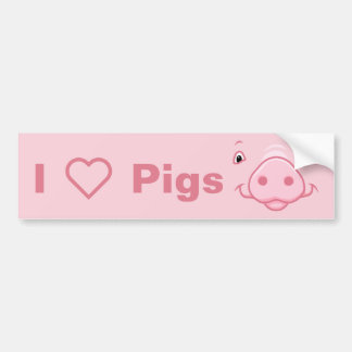 Cute Happy Pink Pig Face Bumper Sticker