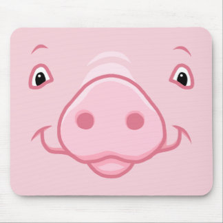 Cute Happy Pink Pig Face Mouse Pad