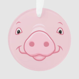 Cute Happy Pink Pig Face Ornament