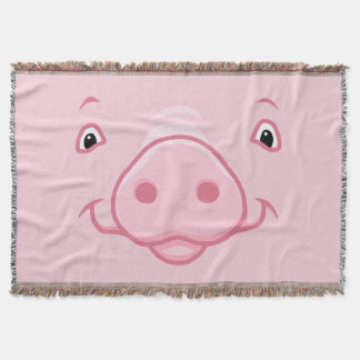 Cute Happy Pink Pig Face Throw Blanket