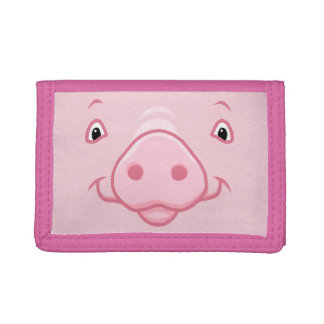 Cute Happy Pink Pig Face Tri-fold Wallets