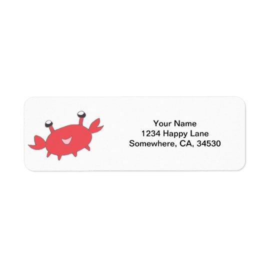 Cute Happy Red Crab Return Address Label