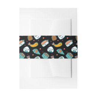 Cute happy seamless sushi pattern on black invitation belly band