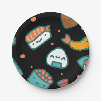Cute happy seamless sushi pattern on black paper plate