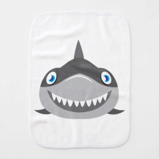 cute happy shark face burp cloth