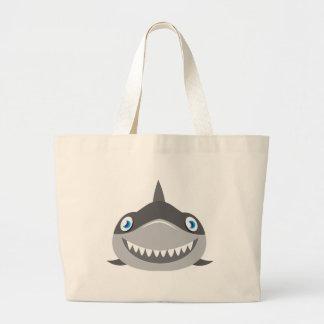 cute happy shark face large tote bag