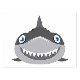 cute happy shark face postcard