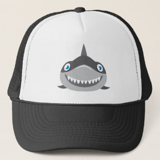 cute happy shark face trucker hat