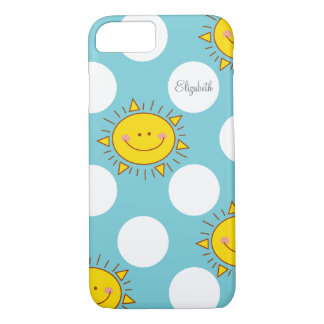 Cute Happy Smiley Sunshine And Polka Dot Pattern iPhone 8/7 Case