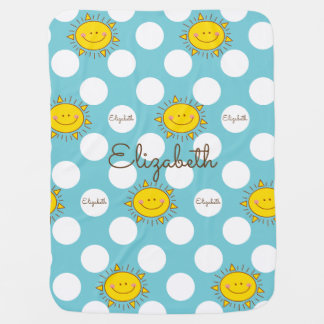 Cute Happy Smiley Sunshine And Polka Dot Pattern Receiving Blankets
