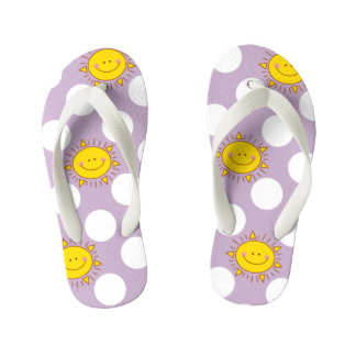 Cute Happy Smiley Sunshine And Polka Dot Pattern Thongs