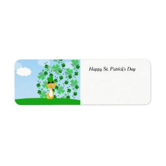 Cute Happy St. Patrick's Day animated Cat Return Address Label