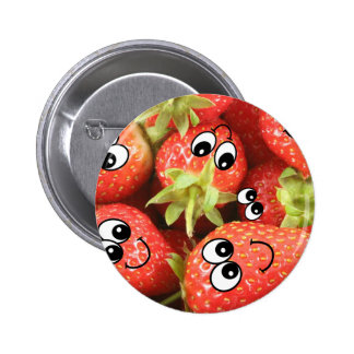 Cute Happy Strawberries Pinback Buttons