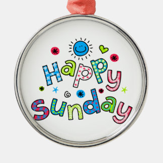 Cute Happy Sunday Week Greeting Text Expression Metal Ornament
