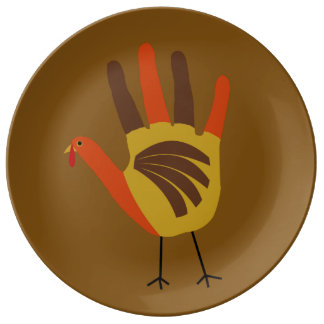 Cute Happy Thanksgiving Hand Print Turkey Gobble Plate