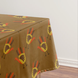 Cute Happy Thanksgiving Hand Print Turkey Gobble Tablecloth
