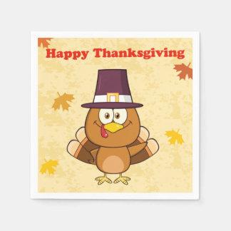 Cute Happy Thanksgiving Turkey Disposable Serviette