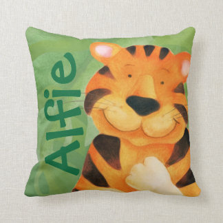 Cute happy tiger face square name throw pillow