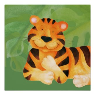 Cute happy tiger square poster print print