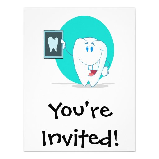 cute happy tooth character with clean xray invites