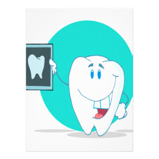 cute happy tooth character with clean xray invitations