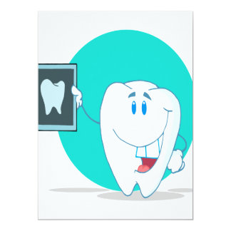 cute happy tooth character with clean xray 17 cm x 22 cm invitation card