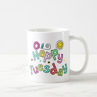 Cute Happy Tuesday Week Greeting Text Expression Basic White Mug