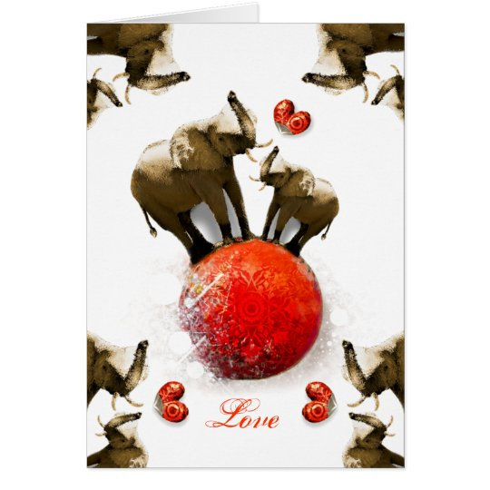 Cute Happy Valentine's Day with Hearts & Elephants Card