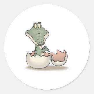 cute hatching baby alligator round sticker