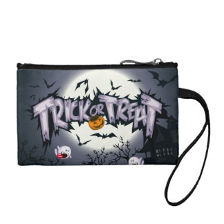 "Cute haunted moon ""Trick or Treat"" ghostly pumpkin Change Purse"
