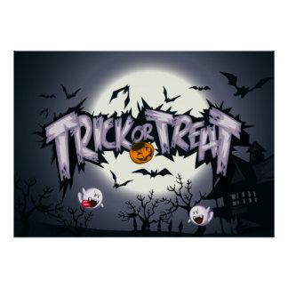 """Cute haunted moon """"Trick or Treat"""" ghostly pumpkin Poster"""