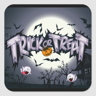 "Cute haunted moon ""Trick or Treat"" ghostly pumpkin Square Sticker"