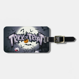 "Cute haunted moon ""Trick or Treat"" ghostly pumpkin Travel Bag Tags"