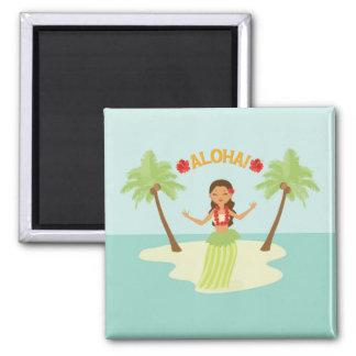 Cute Hawaiian Hula Girl Luau Magnet