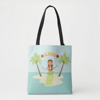 Cute Hawaiian Hula Girl Luau Tote Bag
