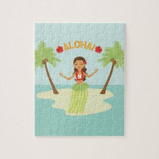 Cute Hawaiian Luau Hula Girl Puzzle