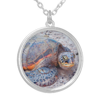 "Cute Hawaiian Sea Turtle ""Honu"" Close-up Photo Silver Plated Necklace"