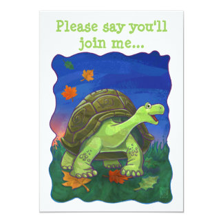 Cute Heads and Tails Tortoise Party Centre Card