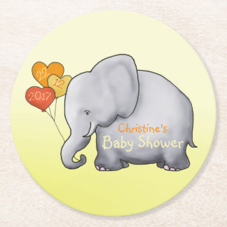 Cute Heart Balloons Elephant Neutral Baby Shower Round Paper Coaster
