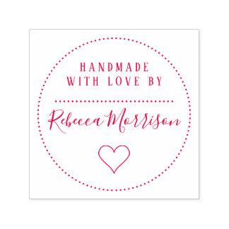Cute Heart | Custom Name Script Handmade With Love Self-inking Stamp