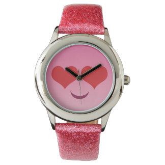 Cute Heart for Eyes Pink emoji Watch