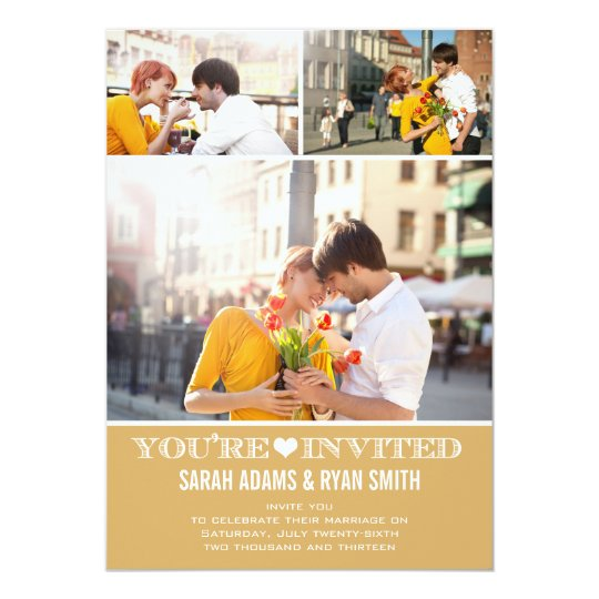 Cute Heart Gold Wedding Three Photo Invitation