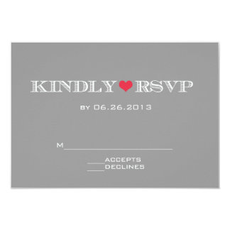 Cute Heart Grey Red Wedding RSVP Cards