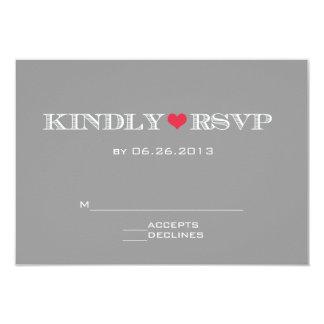 Cute Heart Grey Red Wedding RSVP Cards 9 Cm X 13 Cm Invitation Card
